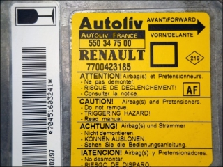 Air Bag control unit 7700-423-185 Autoliv 550-34-75-00 AF Renault Megane