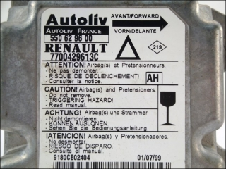 Air Bag control unit 7700-429-613-C AH Autoliv 550-62-96-00 Renault Laguna