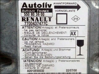 Air Bag control unit 7700-437-477-C AX Autoliv 550-80-36-00 Renault Megane