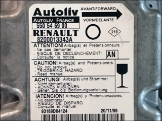Airbag Steuergeraet 8200013343A Autoliv 550546900 AN Renault Twingo