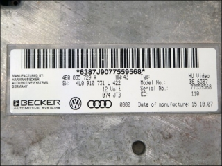 Interfacebox Audi Q7 4E0035729A 4L0910731L BECKER HU Video BE 6387